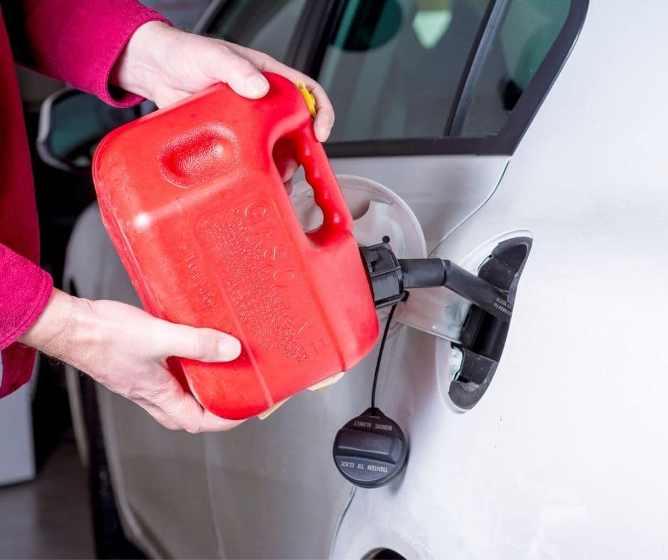 Gas can filling a car